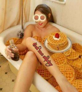 Waffle day girl in bathtub