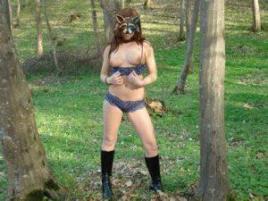raccoon, amateur, flash, woods, outside, boobs